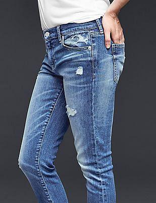 GAP Women Blue Authentic 1969 Destructed Best Girlfriend Jeans