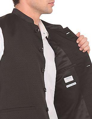 Arrow Regular Fit Jacquard Nehru Jacket