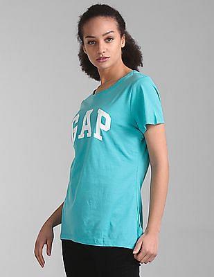 GAP Women Green Logo Short Sleeve Crewneck T-Shirt