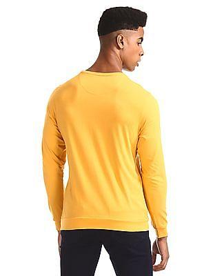 Flying Machine Yellow Ribbed Hem Graphic T-Shirt