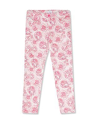 The Children's Place Girls Pink Peony Print Jeggings