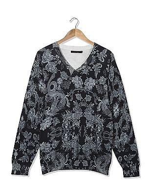 Ed Hardy V-Neck Printed Sweater