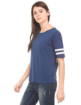 Flying Machine Women Slubbed Varsity T-Shirt