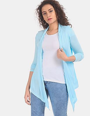 SUGR Women Blue Handkerchief Hem Viscose Shrug