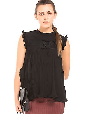 SUGR Lace Overlay Accordion Pleated Top
