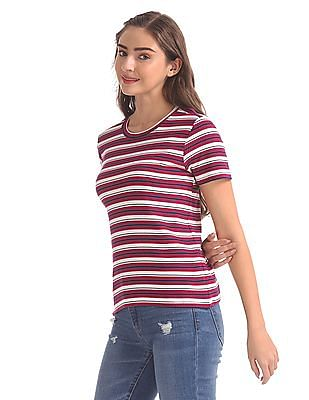 SUGR Pink Striped Crew Neck T-Shirt