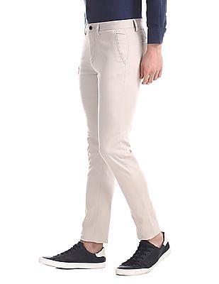 Arrow Sports Grey Slim Fit Flat Front Trousers