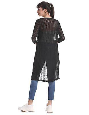 Cherokee Black Patterned Knit Longline Shrug
