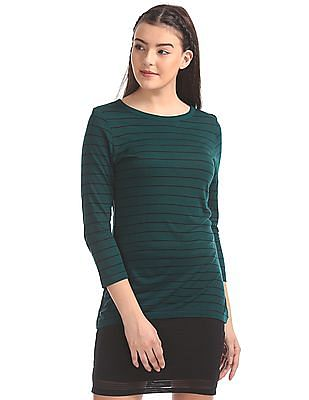 Elle Studio Round Neck Striped T-Shirt