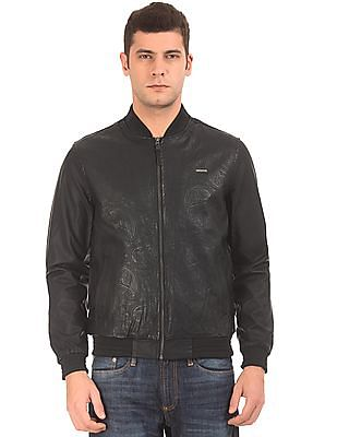 Ed Hardy Debossed Paisley Faux Leather Bomber Jacket