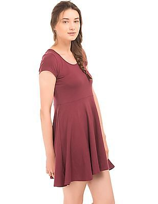 Aeropostale Lace Panel Knitted Fit And Flare Dress