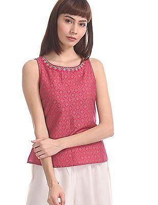 Anahi Pink Smocked Back Printed Top