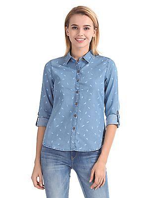 Flying Machine Women Regular Fit Printed Shirt