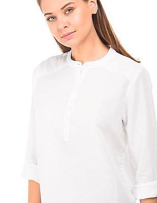Cherokee Mandarin Neck Cotton Linen Top