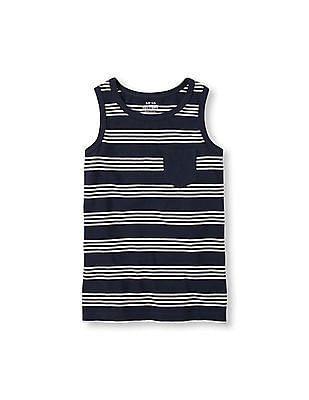 The Children's Place Boys White Sleeveless Striped Pocket Tank Top