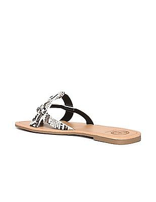 GUESS Snakeskin Textured Strap Leather Sandals