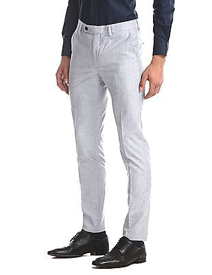 Arrow Grey Slim Fit Patterned Trousers