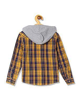 Cherokee Boys Hooded Check Shirt