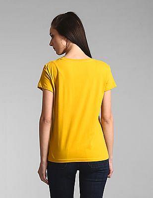 GAP Yellow Embroidered Logo Crewneck T-Shirt