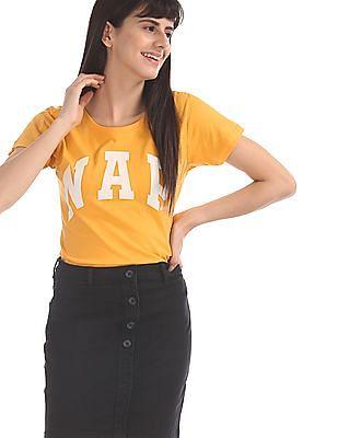 SUGR Yellow Graphic Print Cotton T-Shirt