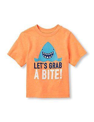 The Children's Place Toddler Boy Orange Short Sleeve 'Let's Grab A Bite!' Shark Graphic Tee