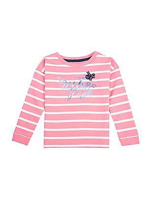 U.S. Polo Assn. Kids Girls Striped Regular Fit Sweatshirt