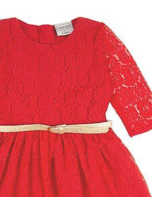 Cherokee Girls Lace Fit And Flare Dress