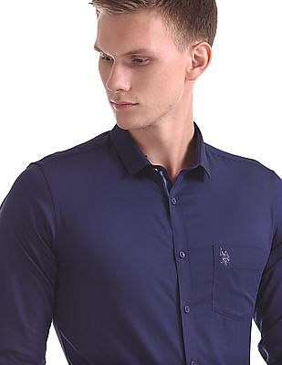 USPA Tailored Slim Fit Patterned Weave Shirt