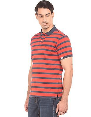 Cherokee Puckered Placket Striped Polo Shirt