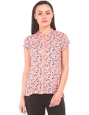Cherokee Printed Mandarin Collar Top