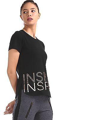 SUGR Black Printed Hem Knit Top