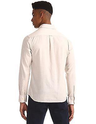 U.S. Polo Assn. Beige Round Cuff Printed Shirt