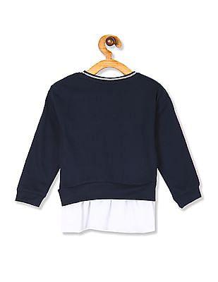 Colt Blue Girls Ruffle Hem Embellished Sweatshirt