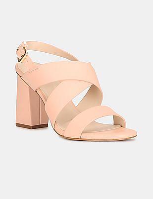 Cole Haan Women Pink Women Black Crossover Strap Block Heels