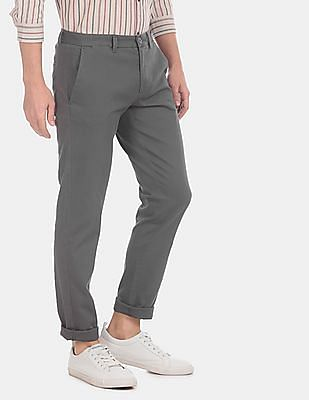 Ruggers Men Grey Modern Slim Fit Patterned Casual Trousers