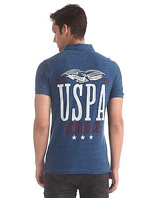 U.S. Polo Assn. Denim Co. Blue Rear Print Pique Polo Shirt