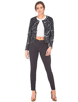 Elle Round Neck Crack Print Jacket