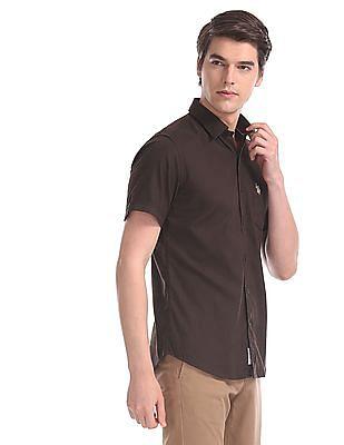 U.S. Polo Assn. Brown Patch Pocket Cotton Shirt