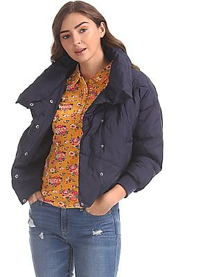 U.S. Polo Assn. Women Blue Dolman Sleeve Quilted Jacket