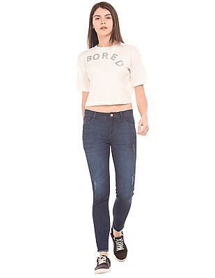 Flying Machine Women Cropped Rib Knit Top