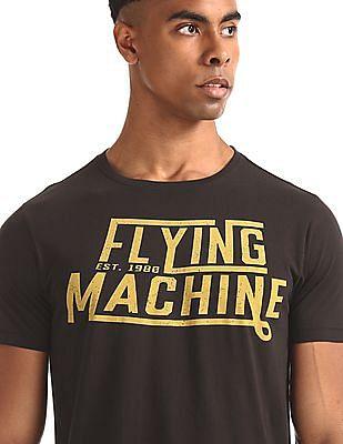 Flying Machine Brown Crew Neck Brand Print T-Shirt