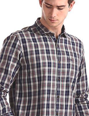 Roots by Ruggers Grey Cutaway Collar Check Shirt
