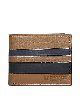 U.S. Polo Assn. Brown Striped Leather Wallet