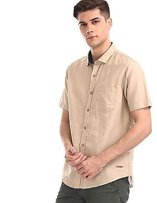 Cherokee Beige Short Sleeve Cotton Linen Shirt