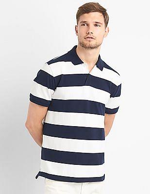 GAP Rugby Stripe Pique Polo Shirt In Stretch