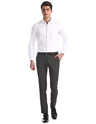 Arrow Newyork White Slim Fit French Placket Shirt