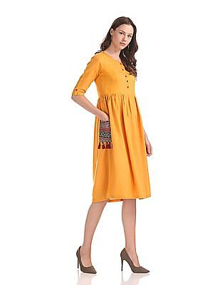 Bronz Contrast Pocket Fit And Flare Dress
