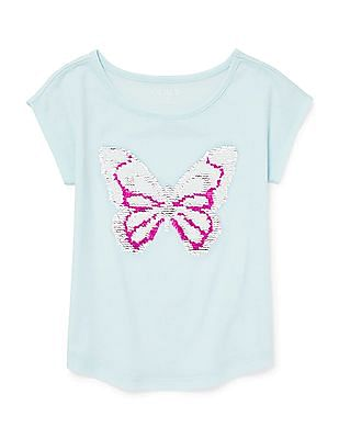 The Children's Place Girls Short Sleeve Flip Sequin Graphic Top