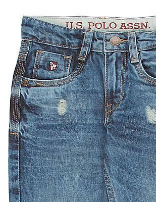 U.S. Polo Assn. Kids Boys Distressed Regular Fit Jeans