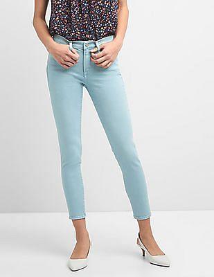 GAP Women Blue Mid Rise True Skinny Ankle Jeans In Colour